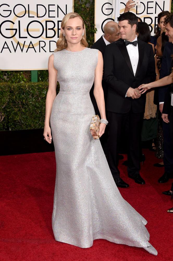 Diane Kruger com vestido prata de Emilia Wickstead (Foto: Reprodução/Fashionista)