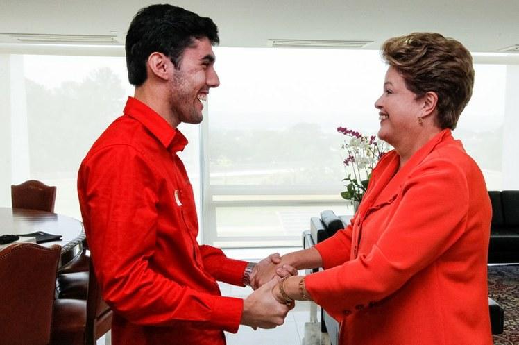 Jeferson Monteiro e a presidenta Dilma Rousseff (Roberto Stuckert Filho/PR)