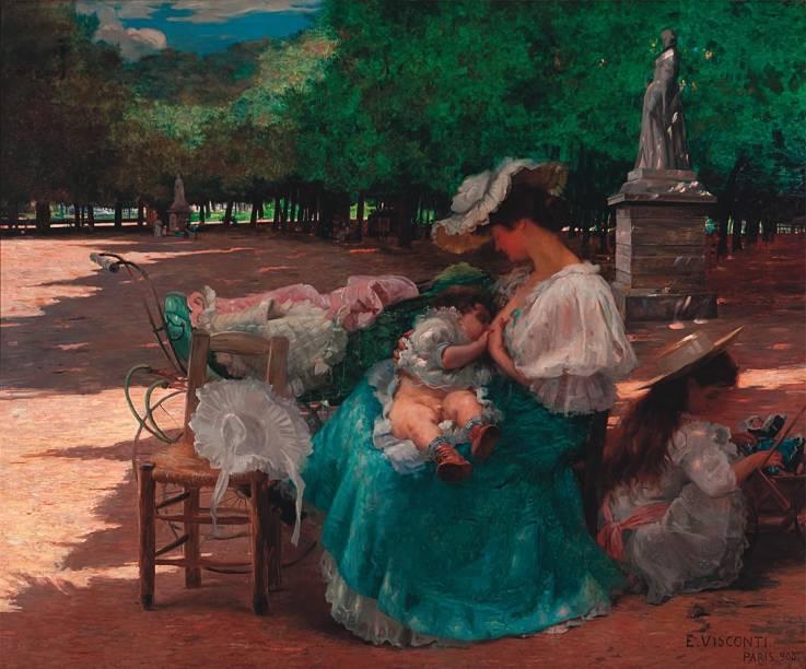 Maternidade, de 1906: óleo, que acaba de ser restaurado, retrata mãe burguesa em parque parisiense