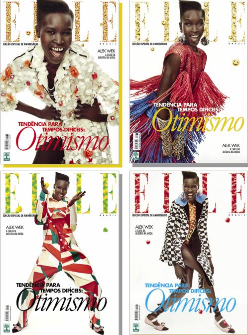 Edição de aniversário da revista Elle: quatro versões com Alex Wek e muito conteúdo (Foto: Reprodução)