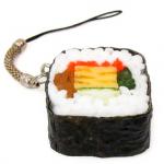 Enfeite para celular que imita sushi