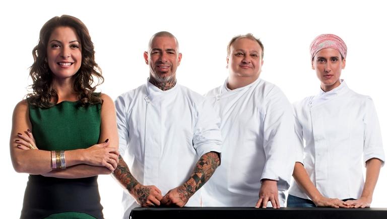 Ana Paula com Fogaça, Jacquin e Paola: olho no olho com os candidatos