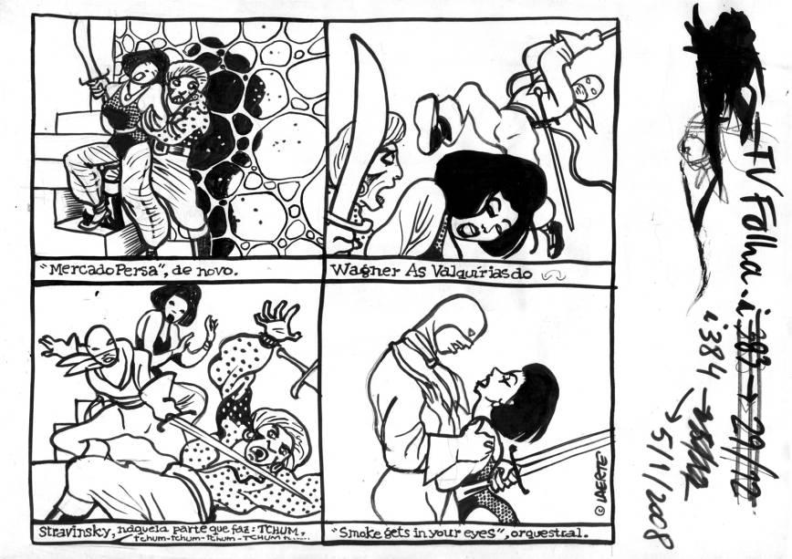"""Esboço do primeiro episódio da história """"Muchacha"""", de janeiro de 2008"""