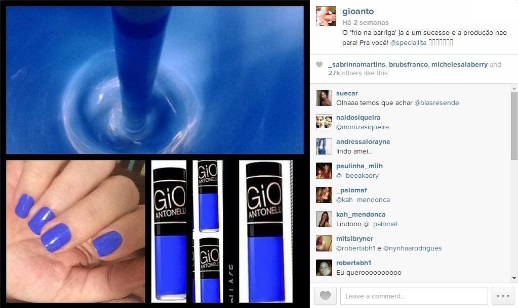 Esmalte Azul Giovanna Antonelli - Instagram