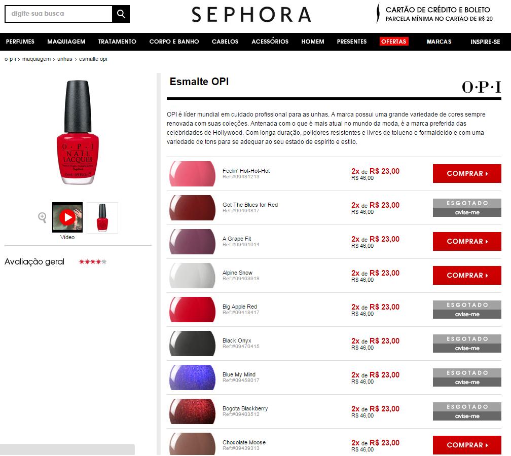 Na Sephora, você encontra os vidrinhos de esmalte por R$ 43 cada (Foto: Reprodução)