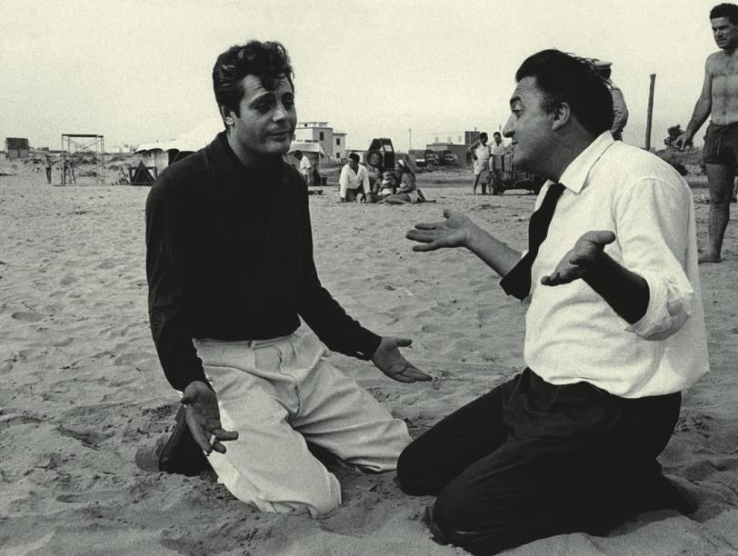 O cineasta Fellini e o ator Marcello Mastroianni