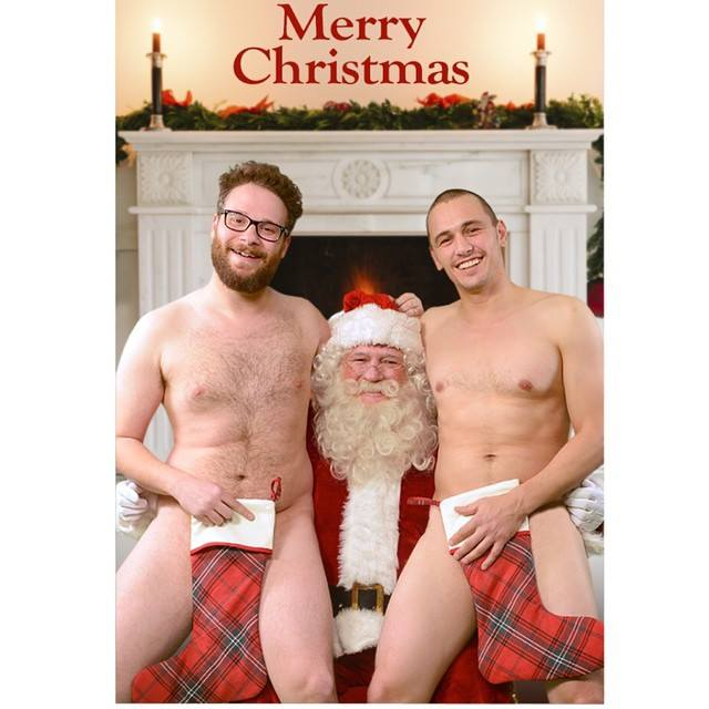 """O suposto cartão de Natal dos atores, que foi """"revelado"""" pelos hackers"""