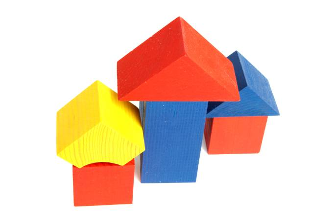 Toy cubes as small houses