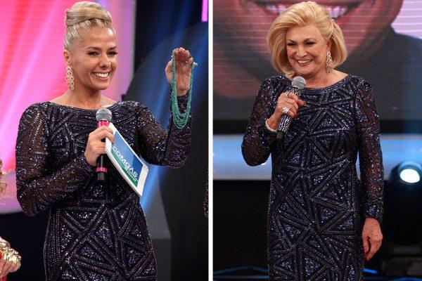 Adriane Galisteu no Teleton com vestido de Hebe Camargo