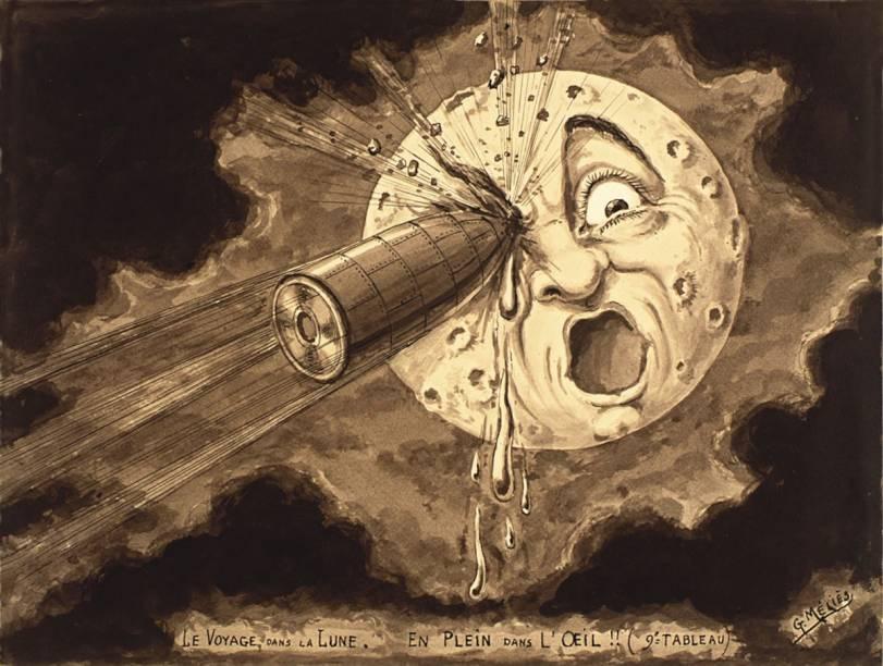"""Desenho feito para filme """"Viagem à Lua"""": a mostra sobre Georges Méliès ocupa dois andares do MIS"""