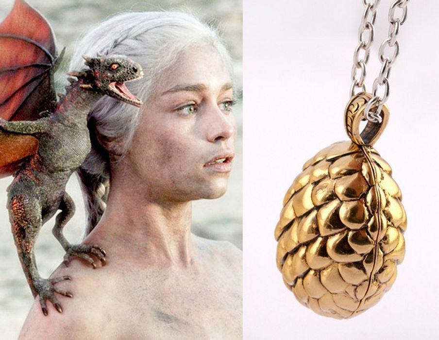 Um colar de ovos de dragões de Game of Thrones