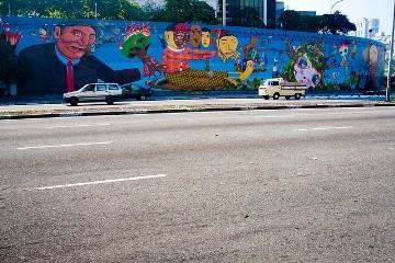 Grafite no Eixo Leste-Oeste, dos artistas: OSGEMEOS, Nina Pandolfo, Nunca, Finok, Zefix, Vitché e Herbert Baglione