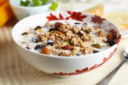 Bowl of Granola with Milk