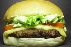 Hambúrguer da lanchonete Guitar Burger