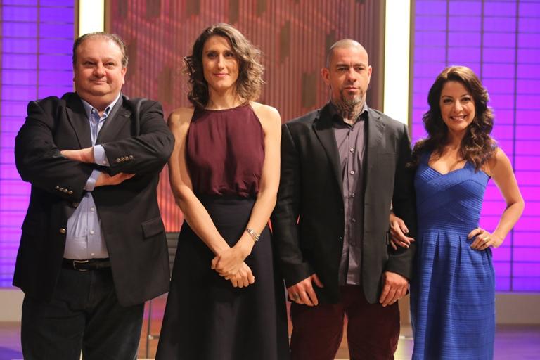 O trio de avaliadores Erick Jacquin, Paola Carosella, Henrique Fogaça e a apresentadora Ana Paula Padrão (Fotos: divulgação)