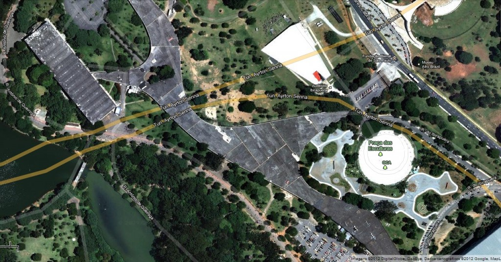 Imagem do Google Maps da área da marquise e do auditório do Parque Ibirapuera (Imagem: Reprodução)