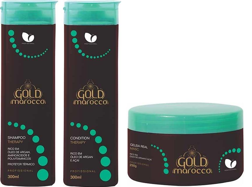 Linha Gold Marocco, da Manga Rosa Profissional. A linha com xampu, condicionador e máscara promete hidratação através da reposição diária de lipídios do açaí e argan age reestruturando o fio. Proporciona brilho, maciez e alinhamento das cutículas. Preço sugerido: R$ 48 (xampu), R$ 44 (condicionador) e R$ 45 (máscara). SAC: (11) 2852-0703