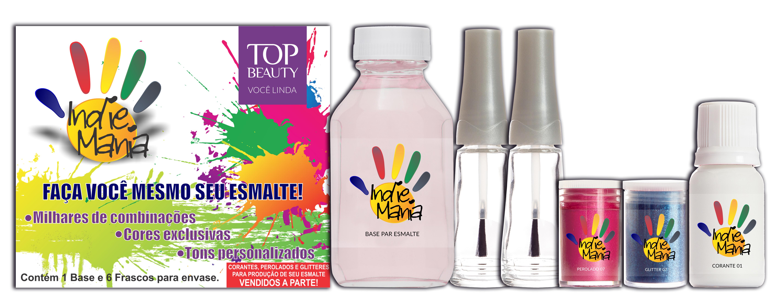 Com a coleção 'Indie Mania', da Top Beauty, crie você mesmo seu esmalte personalizado utilizando os produtos que compõe o kit. São 30 opções de pigmentos, entre cremosos, perolados e cobertura glitter. Cada kit possui uma base e seis vidrinhos vazios. É preciso comprar individualmente os pigmentos. Preço sugerido: R$ 15 (o kit) e os pigmentos a partir de R$ 2,50 (cada)