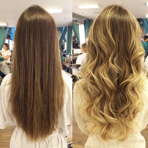 Antes e depois de cabelo feito por Rodrigo Cintra: fios íntegros e mais claros em uma única descoloração