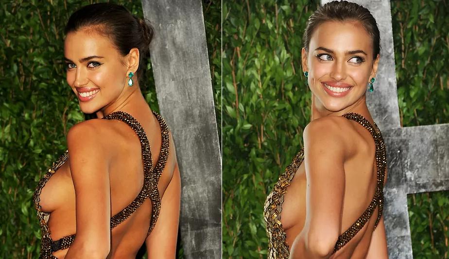 A atriz Irina Shayk: quando mais aparecer a curvinha do seio, melhor para o decote side-boob (Foto: Reprodução)