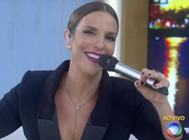 A cantora Ivete Sangalo no Programa da Xuxa, na noite de segunda (7)