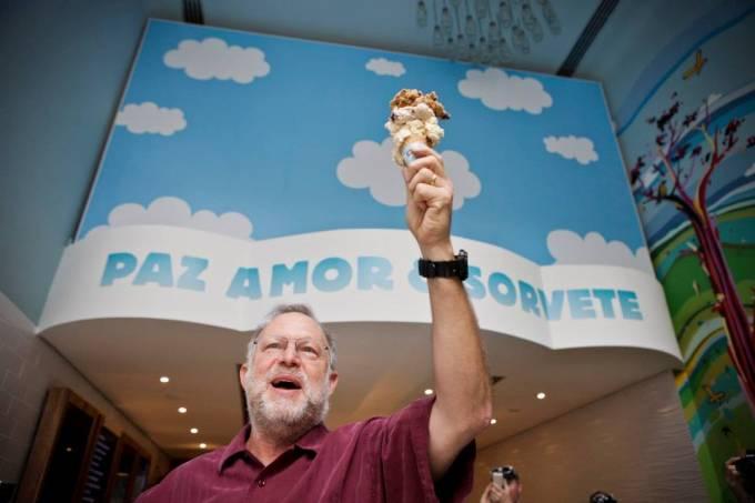 O fundador Jerry Greenfield: na festa de inauguração da filial paulistana (Foto: Ricson Onodera/Facebook_