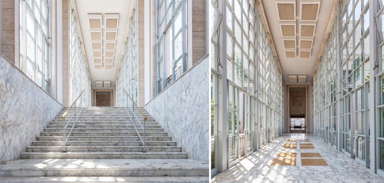 Escadaria e corredor recupado: volta do brilho do passado com o Villa Jockey