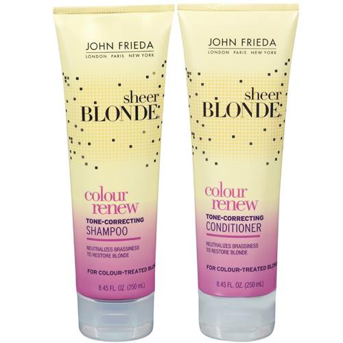 Linha Sheer Blonde Colour Renew Tone Correcting, da John Frieda. Com extrato de lavanda e tecnologia de brilho óptico neutraliza os tons amarelados e deixa os cabelos loiros ou com mechas muito mais brilhantes em apenas três usos. Preço sugerido: R$ 41 (xampu) e R$ 47 (condicionador). SAC: (11) 4227-1011