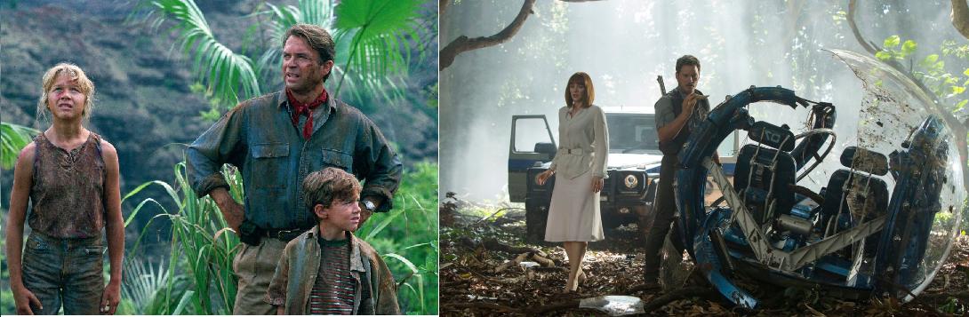 Cenas de Jurassic Park, de 1993, e Jurassic World, de 2015