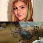"""Outra que se deu mal com tatuagens para ex foi a eterna """"baba baby"""" Kelly Key, que precisou fazer o maior arbusto da história para cobrir o nome de Latino do seu pescoço"""