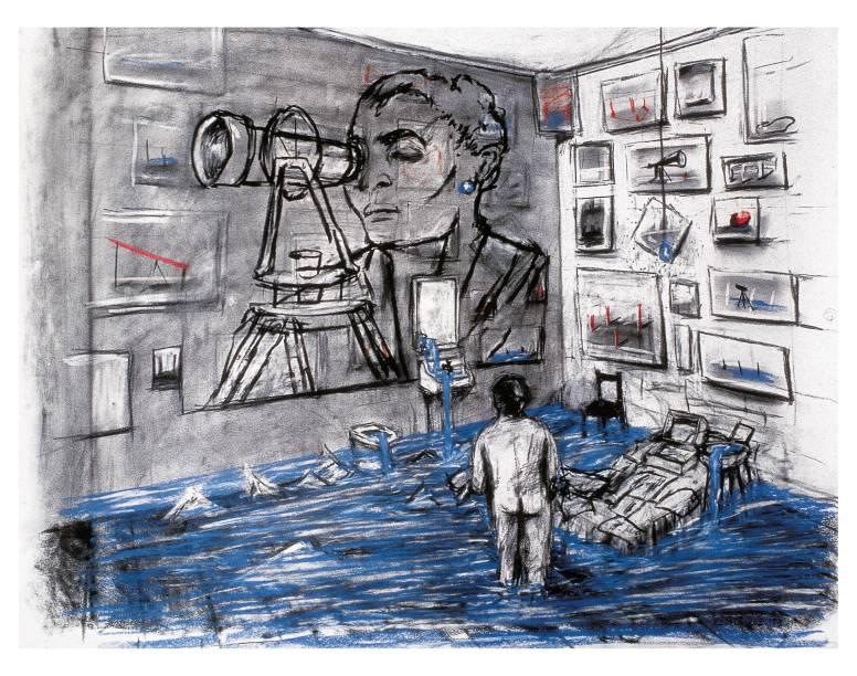 Desenho de esboço para o vídeo Felix no Exílio: flmes artesanais