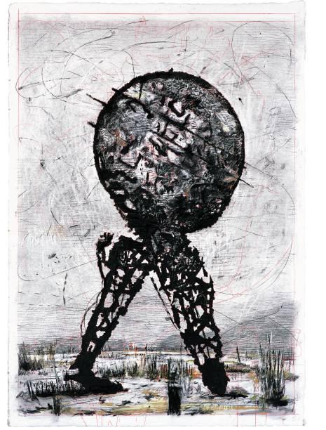 Il Sole 24 Ore: Domenica (Mundo nas pernas de trás), 2007, carvão e pastel sobre papel. 213,5 x 150 cm, William Kentridge