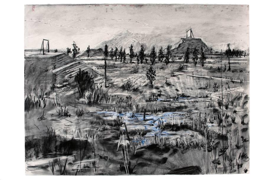 Desenho para o filme Other Faces (Outras faces), 2011, carvão e lápis de cor sobre papel, 80 x 140 cm, William Kentridge