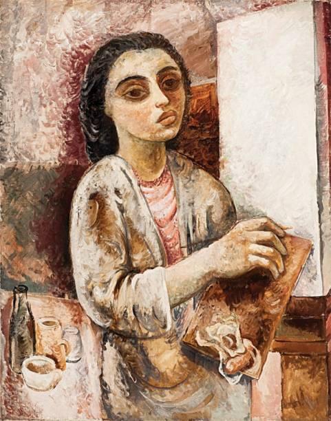 Autorretrato da artista: tons terrosos e os olhos grandes são influência do professor