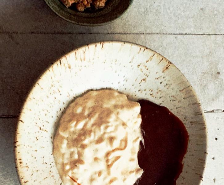 Na sobremesa: arroz doce com caramelo salgado e granola