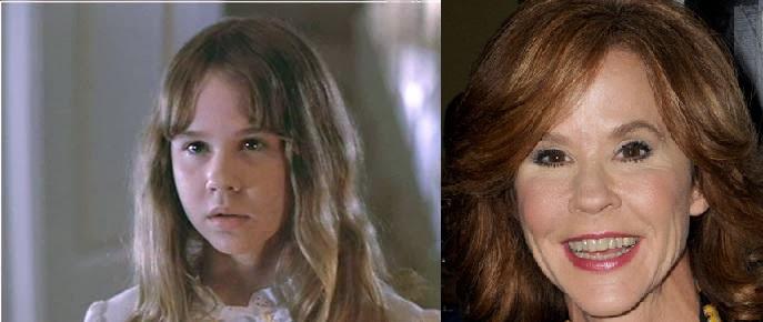 Linda Blair, possuída pelo demônio em Exorcista (1973), e hoje: esticou tanto que nem lembra mais a menina de antes