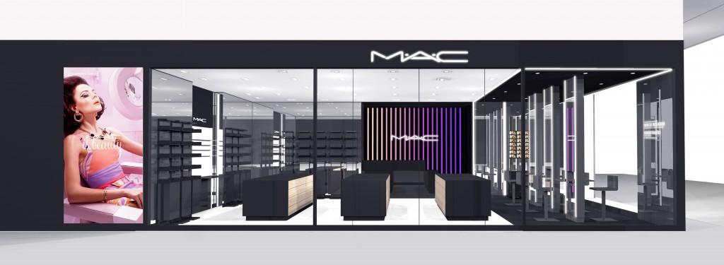 Fachada em 3D da nova loja da M.A.C. em São Paulo