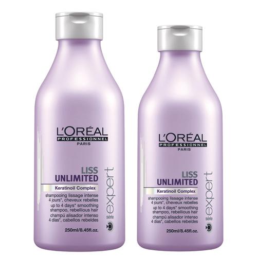 Linha Liss Unlimited, de L'Oréal Professionel. Xampu (R$ 62,90) e condicionador (R$ 83,30) que garantem o efeito liso por até quatro dias. SAC: 0800-7017237 (Foto: Divulgação)