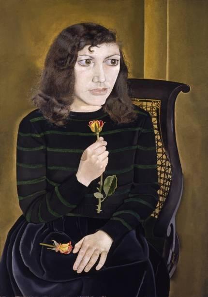 Jovem com Rosas, de Lucian Freud: no total, seis pinturas estão expostas no Masp