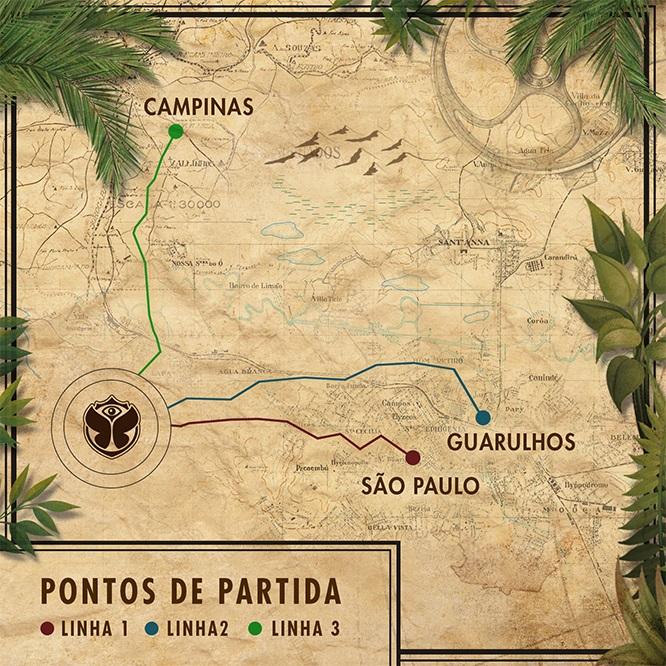 Mapa das linhas de transfer (imagem: reprodução/Tomorrowland Brasil)