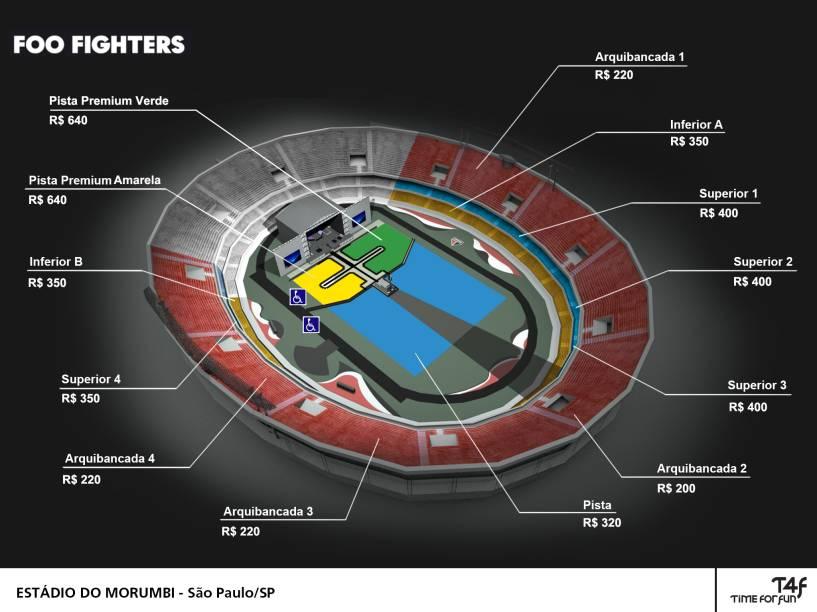 Mapa dos setores do Estádio do Morumbi no dia do show do Foo Fighters