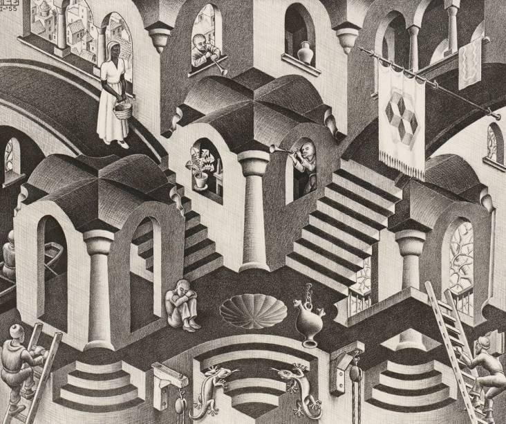 A litografia Côncavo e Convexo (1955): representação de construções impossíveis