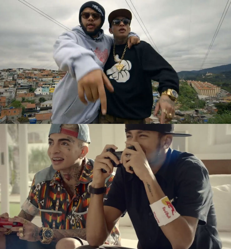 MC Guimê com Emicida e Neymar: novo clipe (Fotos: Reprodução)