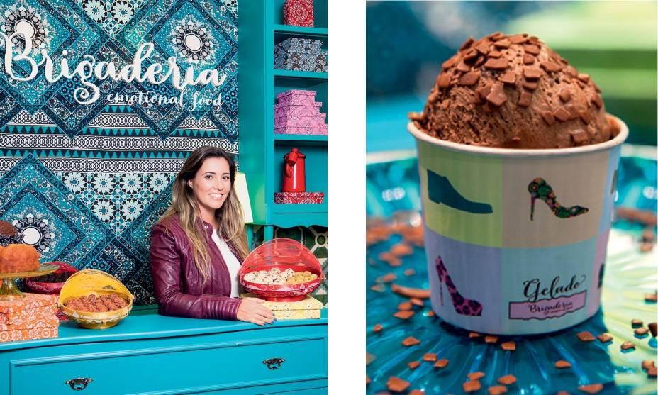 A proprietária Taciana Kalili no balcão de tons azulados e a novidade gelada: o sorvete de chocolate belga