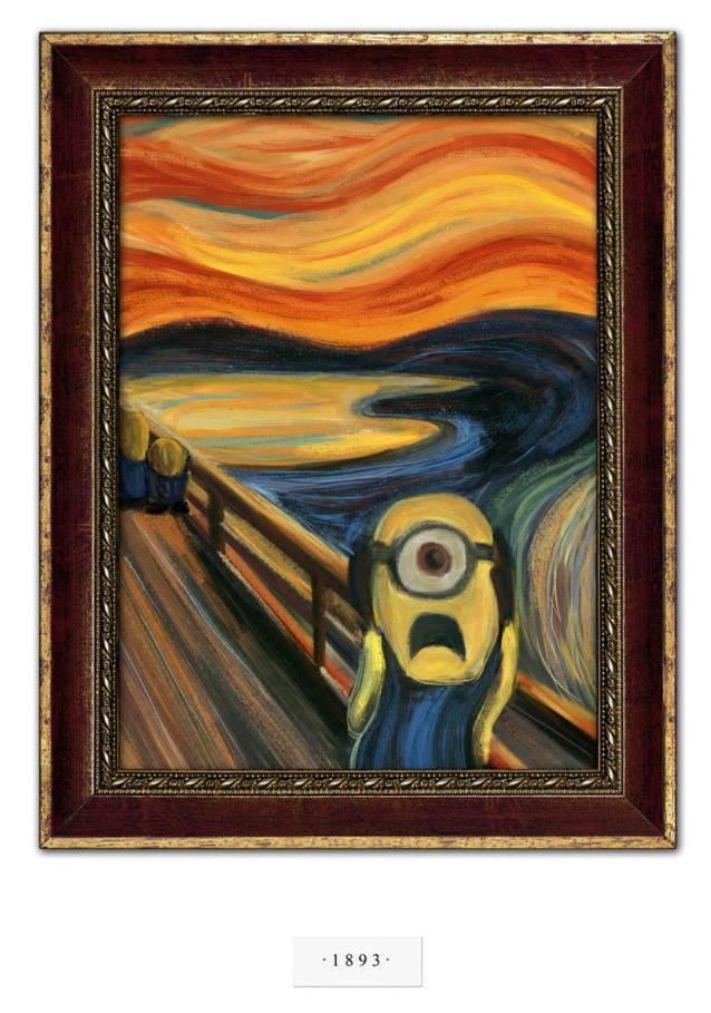 O Grito, de Edvard Munch, numa versão Minions