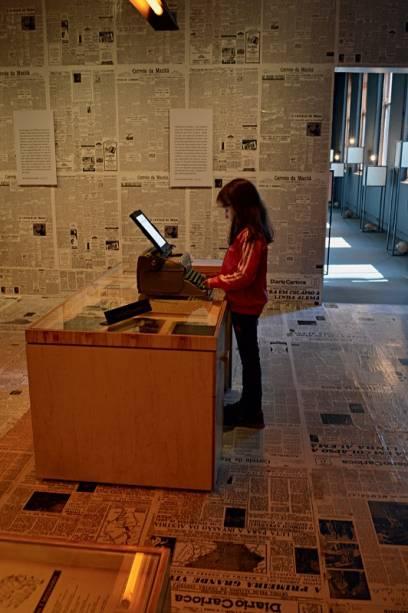 Sala da mostra sobre Rubem Braga: textos e documentos