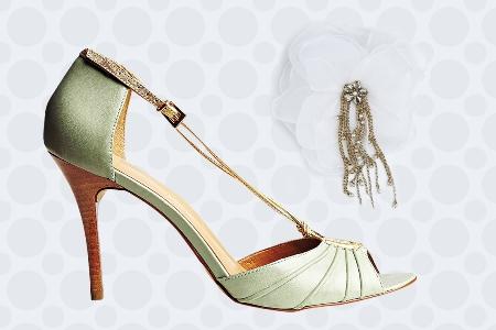 Sandália verde e flor de organza