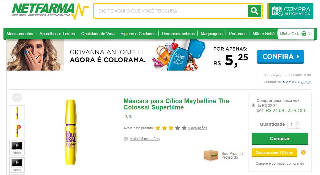 Máscara para cílios da Maybelline: vendida a partir de 24 reais no Brasil