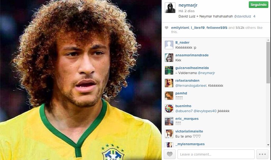Neymar postou montagem do seu rosto com o cabelo de David Luiz