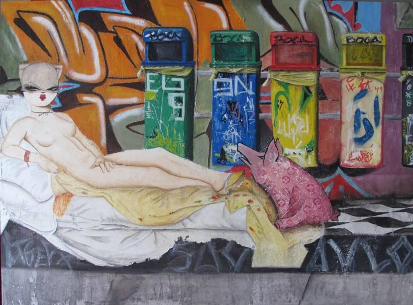 """""""Olympia"""", recriação de Gasediel para a obra clássica de Manet, com o Beco do Batman, da Vila Madalena, ao fundo"""